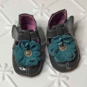 Livie & Luca Gray Teal Patent Leather Shoes 0-6M